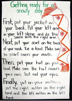 This is an engaging way to teach students about procedural writing. The teacher uses visual examples for her young students to show how relevant the process is. She also uses something that all students have been exposed to & participated in- dressing for cold weather. This type of activity is effective because students are familiar with the process & can see the words they use on the chart paper (e.g., first, next, then). Also, the text could be read aloud & prompt words should be…