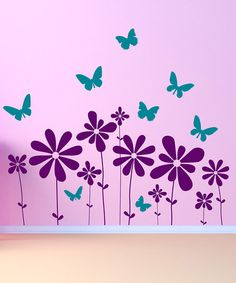 Take a look at this Purple & Teal Butterflies & Flowers Scene Wall Decal Set by DecorDesigns on #zulily today!