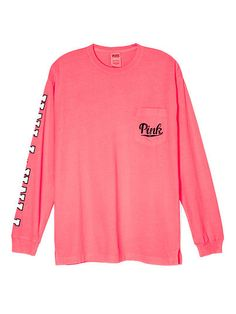Campus Long Sleeve Tee - PINK - Victoria's Secret This color, size Large