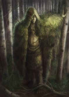 The Ghillie Dhu ~ A fairy (perhaps originally considered a deity) guardian of the trees in Scottish mythology. The Ghillie is kind to children, but generally wild and shy. Said to be dark haired, he is particularly fond of birch trees and is most active at night. Ghillies wear clothing made from sewn together leaves and knitted grass and mosses. Magical Creatures, Fantasy Creatures, Folklore, Celtic Mythology, Pan Mythology, Mythological Creatures, Mythological Characters, Green Man, Land Art