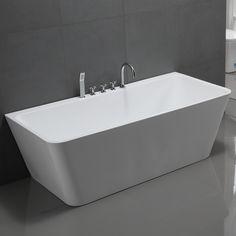 Freistehende Badewanne Sylt Acryl weiß mit Armatur, diese sehr luxuriöse freistehende Badewanne besteht aus hochwertigem glasfaserverstärktem Sanitär Acryl