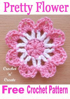 My crochet pretty flower pattern will add a bit of spring and beauty to your items, it also makes an easy project for beginner crocheters .Crochet Pretty Flower uk Free Crochet Flower - Crochet 'n' CreateThis sweet small flower applique, has just 3 r Crochet Flower Patterns, Flower Applique, Crochet Blanket Patterns, Crochet Flowers, Knitting Patterns, Crochet Birds, Crochet Leaves, Crochet Stars, Applique Patterns