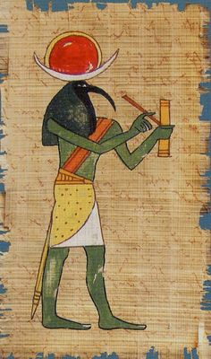The Magician - Cleopatra Tarot [contemporary depiction Thoth with alternate colors - green body instead of blue, orange sash instead of white, a white over sized crescent and a red and gold sun]