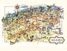 A personal favorite from my Etsy shop https://www.etsy.com/listing/197074536/pictorial-map-of-algeria-1940s-by-french