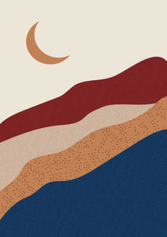 Abstract Landscape - Abstract digital art of a desert mountain and a crescent moon. This art is available as digital dow - Abstract Digital Art, Digital Art Girl, Abstract Art, Digital Paintings, Art And Illustration, Minimalist Poster, Minimalist Art, Digital Art Tutorial, Abstract Landscape