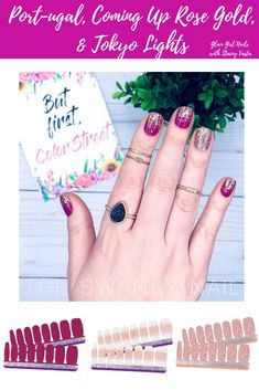 Win a FREE set of Color Street nail polish strips! Dry Nails, Glam Nails, Beauty Nails, Cute Nails, Pretty Nails, Rose Gold Glitter, Rose Gold Color, Gold Nail, Glitter Nails