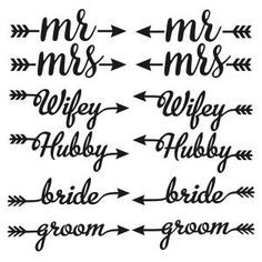 Wedding Hubby and Wifey, Bride and Groom, Mr and Mrs Arrow Collection Cuttable Design Cut File. Vector, Clipart, Digital Scrapbooking Download, Available in JPEG, PDF, EPS, DXF and SVG. Works with Cricut, Design Space, Sure Cuts A Lot, Make the Cut!, Inkscape, CorelDraw, Adobe Illustrator, Silhouette Cameo, Brother ScanNCut and other compatible software.
