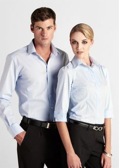 Corporate Uniform Biz-Berlin shirt. Ladies & mens. 61%cotton,35%polyster. Blue,White,Graphite,Grap,Black,Cherry. Size6-26, S-6XL. activembroidery.com.au