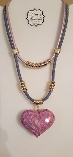 1626dcf86567  collar  corazón  rosa  mezclilla  fashion  fashionjewerly  bisuteria   bisuteriafina  necklace  accsLucyEstrada  accesorios  accsexclusivos