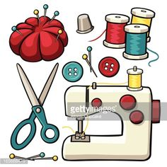 A variety of cartoon sewing design elements: a sewing machine,. Costura Vintage, Sewing Machine Drawing, Sewing Clipart, Sewing Projects, Sewing Crafts, Bullet Journal Art, Sewing Art, Free Vector Graphics, Vector Art