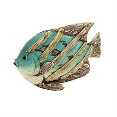 """15 x 10 Beach Fish Decoration. Lightweight polystone fish sculpture made to look like driftwood art nailed together Nice Light aqua and antiqued white tones. Fish is large and measures 15"""" wide x 10"""" tall x 4"""" thick. Great for decorating indoors, or covered outdoors, as a centerpiece or side table decoration."""