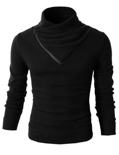 X-Future Men Classic Long Sleeve Turtleneck Knit Striped Pullover Sweater