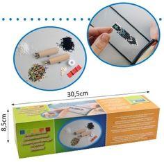 Kralen weefraam compeet met beschrijving, draad, naalden, ringetjes, slotje, veterklemmen, kralen