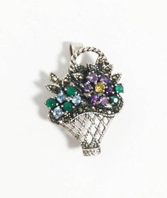 Marcasite Gemstone Flower Basket Pin Pendant Necklace Vintage Style Silver Tone Woven Basket on Herringbone Chain Floral Brooch Antique Brooches, Antique Jewelry, Vintage Jewelry, Vintage Necklaces, Vintage Pins, Marcasite Jewelry, Sterling Jewelry, Etsy Vintage, Bridal Jewelry