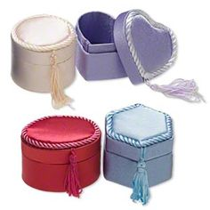 Jewelry box mix, cardboard with fabric cover, mixed colors, 2-3/8x2 to 2-3/4x2-inch mixed shapes. Sold per pkg of 4.