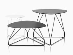 Three Polygon Wire occasional tables. One is white with a round top and the other two are black with rounded triangular tops. Wire Table, Table Desk, George Nelson, Lounge Furniture, Modern Furniture, How To Clean Metal, Industrial Table, Small Tables, Modern Table