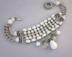 Repurposed Bracelet - One of a Kind vintage milk glass and rhinestone design - JryenDesigns
