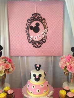 Minnie Mouse party cake! See more party ideas at CatchMyParty.com!