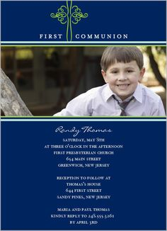 Flourish Cross Navy Communion Invitation @Shutterfly
