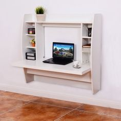 Free Shipping. Buy Costway White Wall Mount Floating Computer Desk Storage Two Shelf Laptop Computer Home at Walmart.com