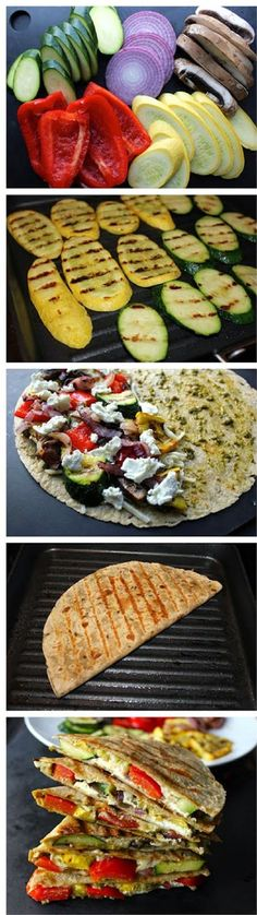 Grilled Vegetable Quesadillas with Goat Cheese and Pesto. Made these without goat cheese and with salsa instead of pesto. Used mozarella instead of goat cheese. Best Grilled Vegetables, Grilled Vegetable Recipes, Bbq Vegetables, Recipes With Vegetables, Grilled Vegetable Sandwich, Vegetable Salad, Mexican Food Recipes, Vegetarian Recipes, Cooking Recipes