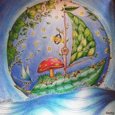 Johanna Basford Enchanted Forest coloring leaf boat