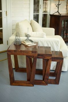 Made of solid, sustainably harvested tropical hardwood, called Sheesham. The Arvada Nesting Tables.