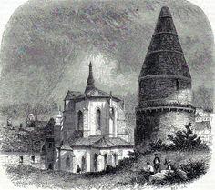 Antique print ,gravure Lanterne des morts de Sarlat-la-Canéda 1850