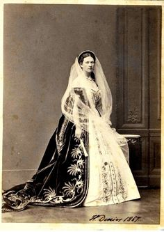 """Princess Ekaterina Petrovna Kleinmichel,Maid of Honor to the Empress Maria Alexandrovna of Russia photographed in full court dress in 1867. """"AL"""""""