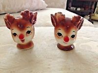 VINTAGE RUDOLPH THE RED-NOSED REINDEER SALT AND PEPPER SHAKERS 1960's
