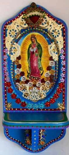Mexico Inspired Mary. Hmmm, spray paint or dye doiylies, applique.