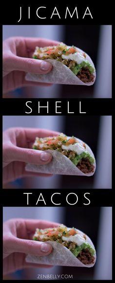 jicama taco shells are here to answer your grain-free crispy taco woes. Tortilla Shells, Taco Shells, Jicama Fries, No Carb Recipes, Mexican Food Recipes, Healthy Recipes, Ethnic Recipes, Free Recipes, Recipes
