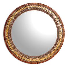 Round Golden Bronze by Angie Heinrich. Richly hued bronze glass tiles, shimmering golden tiles, glass beads, and metal beads come together to create a sparkling elegant addition to your home. It is surprisingly light weight and very easy to hang (hanging hardware included).