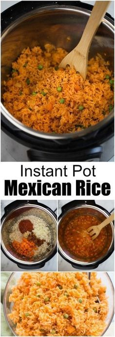 This Instant Pot Mexican Rice recipe is my favorite side-dish for any Mexican fo. - This Instant Pot Mexican Rice recipe is my favorite side-dish for any Mexican food we eat! I perfec - Mexican Rice Recipes, Rice Recipes For Dinner, Instant Pot Dinner Recipes, Homemade Mexican Rice, Mexican Drinks, Mexican Slaw, Mexican Tamales, Instant Recipes, Mexican Chicken