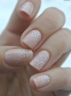The Best Christmas Nails - Tutorials, Designs & Ideas For Beautiful Festive Nails. For A Subtle Nod To Festivities Why Not Try This Blush Pink Snowflake Nail Art Design?