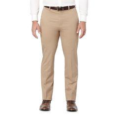 Men's Savane Executive Khaki Straight-Fit Performance Pants, Size: 38X34, Dark Beige
