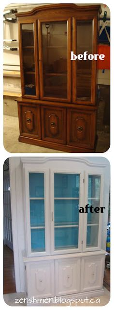 ZenShmen! | A DIY Home Improvement Blog | #DIY #Kitchen #Hutch/Buffet Redo. I just gave my old china hutch to my daughter. (This looks a lot like it.) I'll bet she does something like this to it.