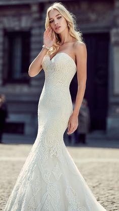 eddy k milano bridal 2017 strapless sweetheart lace mermaid wedding dress (md206) zfv train