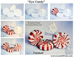 """Step by step, how to art, watercolor painting by Lynn D. Pratt """"Eye Candy"""" candy, peppermint, Christmas"""