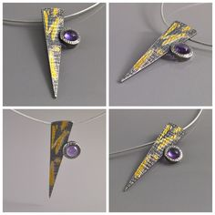 Silver, 22K gold and Amethyst pendant.