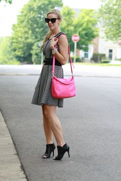 Graphic Print: black and white graphic print Target dress, Chanel sunglasses, hot pink Kate Spade bag, Cole Haan black open toe booties