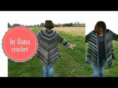Crochet poncho shrug with sleeves by Oana - YouTube