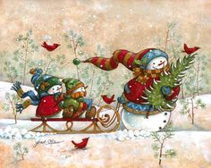 """""""Holiday Visit"""" by Janet Stever, artist and illustrator, from the Snow Family Series."""