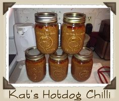 Chili is a favorite at our house. I double this recipe so that I can 16 pint jars at one time and have leftovers for supper. Hope you li. Chili Canning Recipe, Pressure Canning Recipes, Canning Beans, Canning Soup, Easy Canning, Pressure Cooking, Hotdog Chilli, Hot Dogs And Beans, Hot Dog Sauce