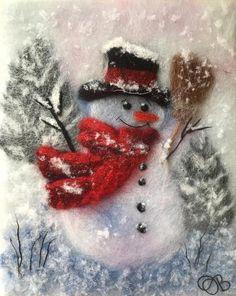 Snowman Painting / Christmas Home Decor / Snowman Lovers Gift Home Decor Christmas Gifts, Christmas Wall Art, Christmas Gift For You, Christmas Home, Christmas Cards, Felt Pictures, Wool Art, Felt Art, Gift For Lover