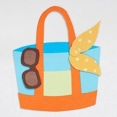 Beach Tote Paper-Piecing Pattern Adhesive foam helps the sunglasses pop off this cute colorful tote.