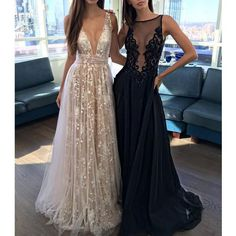 2017 Most Popular Deep V Neck Sexy Applique Tulle Long Prom Dresses, WG744 The long prom dress is fully lined, 4 bones in the bodice, chest pad in the bust, lace up back or zipper back are all available. This dress could be custom made, there are no extra cost to do custom size and color. Description of dress 1, Material: applique, lace, tulle, elastic silk like satin. 2, Color: picture color or other colors, there are many colors available, please contact us if you need fabric swatch. 3…