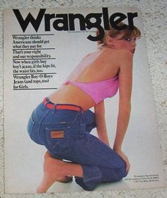 1977-ad-page-Wrangler-Jeans-CUTE-sexy-girl-Blue-Bell-vintage-Advertisng-ADVERT