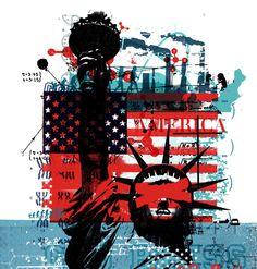 America / New Scientist - Alex Williamson - Debut Art Shepard Fairey Art, Foto Gif, Art Alevel, Political Art, Political Events, Protest Art, New Scientist, Collage Art Mixed Media, Unusual Art