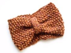 Handknit woolen headband in amber heather by bykirabo on Etsy